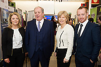 Laura Myles, Flynn O'Driscoll,  with  Celebrity Judge Gavin Duffy, Dr. Emer Mulligan NUIG and Michael Smith, General Manager SCCUL Entrepises at the The SCCUL Entreprise awards and Business Expo in the Bailey Allen Hall in NUIG. Photo:Andrew Downes, xposure