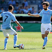 NEW YORK, NEW YORK - May 29:  David Villa #7 of New York City FC Andrea Pirlo #21 of New York City FC in action during the New York City FC Vs Orlando City, MSL regular season football match at Yankee Stadium, The Bronx, May 29, 2016 in New York City. (Photo by Tim Clayton/Corbis via Getty Images)