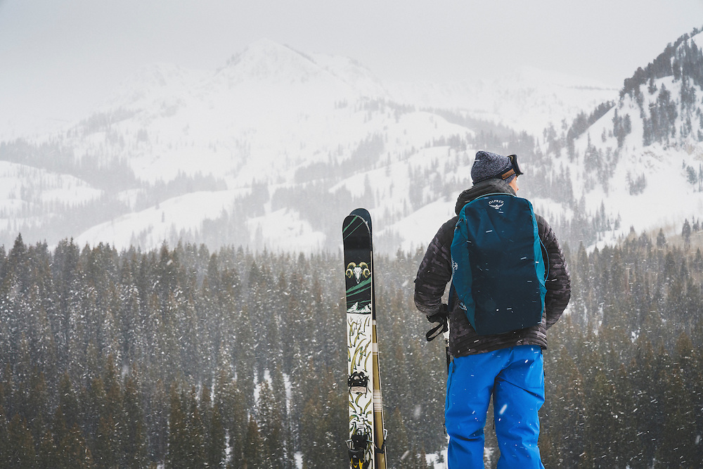 Rob Aseltine takes in the view of Brighton, Utah before a day of skiing.