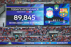 LONDON, ENGLAND - Saturday, August 6, 2016: Wembley's second largest attendance since the re-build, a crowd of 89,845 watch Liverpool defeat Barcelona 4-0, during the International Champions Cup match at Wembley Stadium. (Pic by Xiaoxuan Lin/Propaganda)