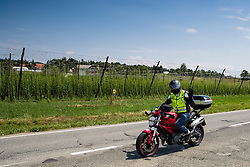 Motorcycle marshal during 3rd Stage of 26th Tour of Slovenia 2019 cycling race between Zalec and Idrija (169,8 km), on June 21, 2019 in Slovenia. Photo by Matic Klansek Velej / Sportida