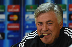 CARDIFF, WALES - Tuesday, August 12, 2014: Real Madrid Manager Carlo Ancelotti during a press conference ahead of the UEFA Super Cup at Cardiff City Stadium.  (Pic by Pool/Getty Images/Propaganda)