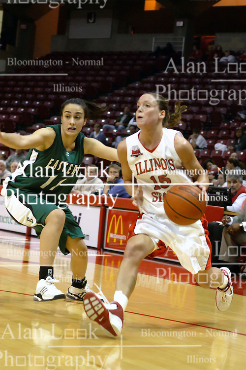 17 December 2006: Megan McCracken turns past Kivilcim Yamanoglu. In a non-conference game, the Eagles of Eastern Michigan  lost by a score of 68-55 to the Redbirds in Redbird Arena on the campus of Illinois State University in Normal Illinois.<br />