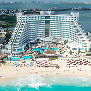 Aerial view of the ME Cancun by SolMelia hotel.