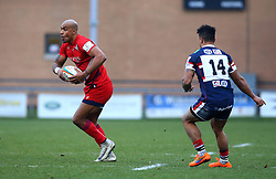 Tom Varndell of Bristol Rugby goes past Curtis Wilson of Doncaster Knights - Mandatory by-line: Robbie Stephenson/JMP - 13/01/2018 - RUGBY - Castle Park - Doncaster, England - Doncaster Knights v Bristol Rugby - B&I Cup
