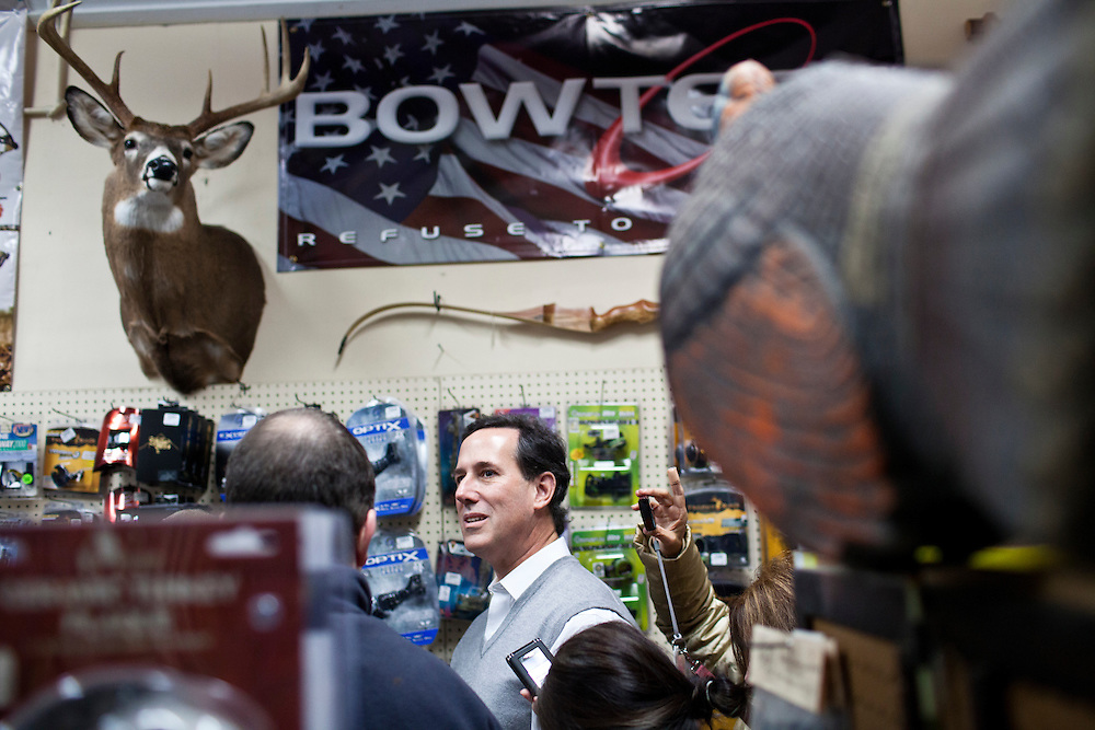 Republican presidential candidate Rick Santorum visits Pelletier's Sports Shop on Friday, January 6, 2012 in Jaffrey, NH.