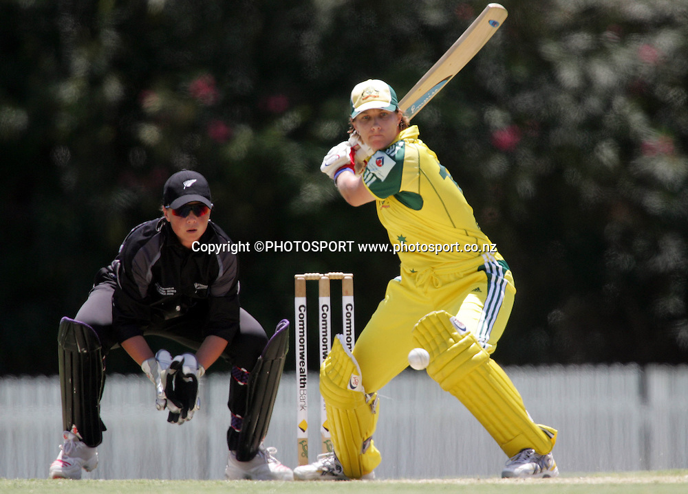 Australia's Melissa Bulow keeps her eye on the ball during the first ODI Rose Bowl cricket match between the White Ferns and Australia at Allan Border Field, Brisbane, Australia, on Friday 20 October 2006. Australia won the match by 2 with a total of 201. Photo: Renee McKay/PHOTOSPORT<br />
