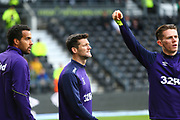 Derby County forward David Nugent (28) warms up during the EFL Sky Bet Championship match between Derby County and Aston Villa at the Pride Park, Derby, England on 10 November 2018.
