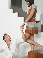 Affectionate Young Couple on Stairs