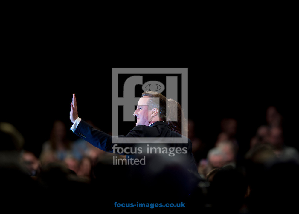 British Prime Minister David Cameron waves to the crowd following his speech at the Conservative Party Conference at Manchester Central, Manchester<br /> Picture by Russell Hart/Focus Images Ltd 07791 688 420<br /> 07/10/2015