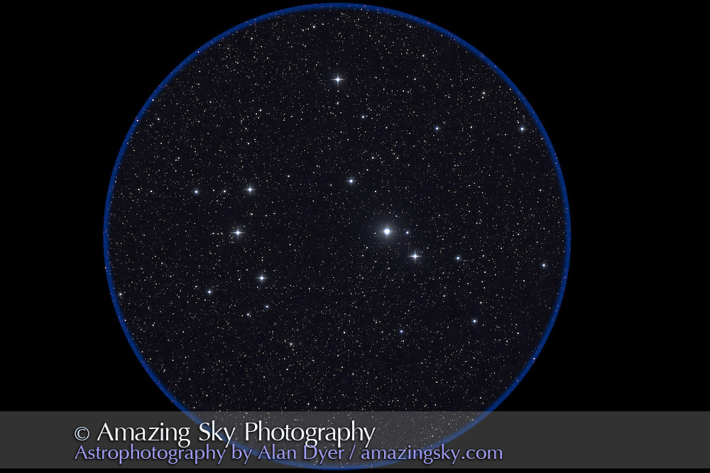 IC 2602 open cluster (Southern Pleiades), with 4-inch Astro-Physics Traveler apo refractor at f/6 and Canon 20Da at ISO800 for stack of two 2-minute exposures. Taken from Queensland, Australia, July 30, 2006.