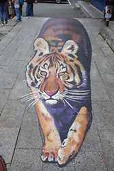 June 17, 2017 - Jili, Jili, China - Jilin, CHINA-June 17 2017: (EDITORIAL USE ONLY. CHINA OUT) ..A 10-meter-long three-dimensional painting of tiger can be seen on the street in Jilin, northeast China's Jilin, June 17th, 2017. (Credit Image: © SIPA Asia via ZUMA Wire)