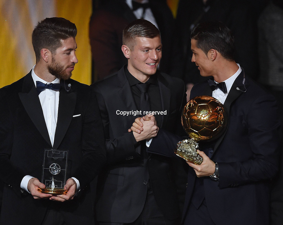 12.01.2015. Zurich, Switzerland. FIFA Ballon d'Or Gala 2014 held at the Kongresshaus in Zurich, Switzerland.   Sergio Ramos (Spain), Toni Kroos(Germany) and Cristiano Ronaldo (Real Madrid / Portugal)