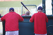 ANAHEIM, CA - JUNE 06:  Mike Scioscia (14) of the Los Angeles Angels of Anaheim and batting coach Jim Eppard (80) of the Angels (right) watch Albert Pujols (5) of the Angels take batting practice before the game against the Seattle Mariners on Wednesday, June 6, 2012 at Angel Stadium in Anaheim, California. The Mariners won the game 8-6. (Photo by Paul Spinelli/MLB Photos via Getty Images) *** Local Caption *** Mike Scioscia;Jim Eppard;Albert Pujols