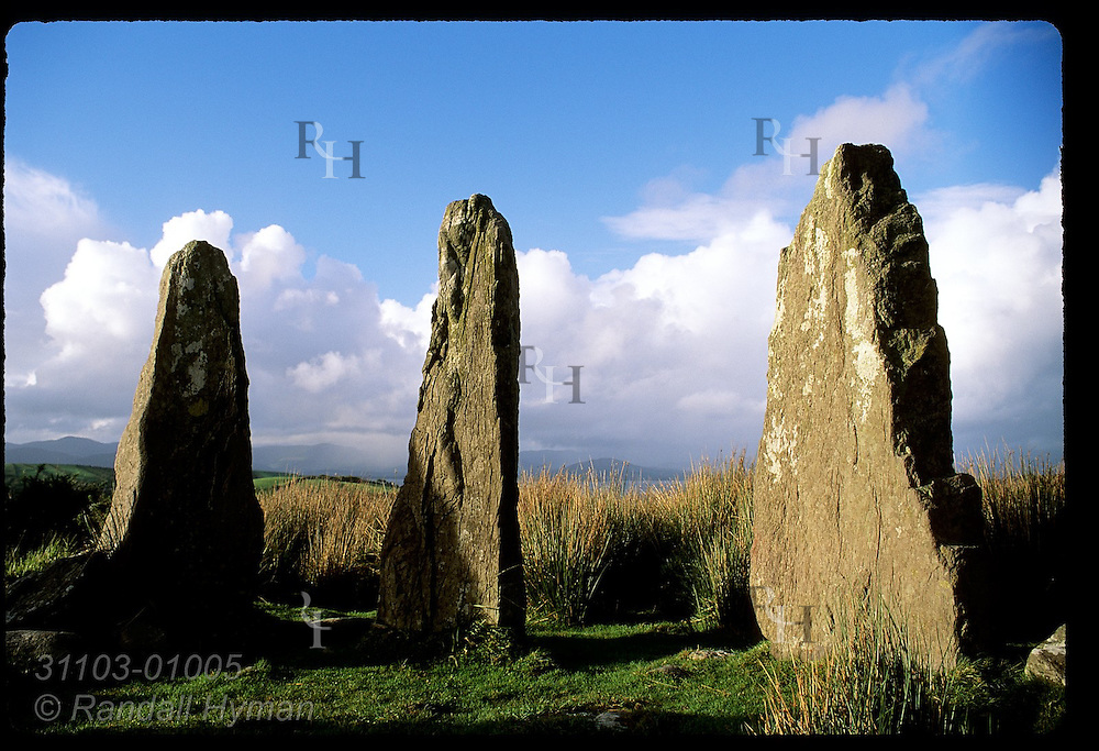Three of the standing stones in a 3000-year-old stone circle near Ardgroom once used as a calendar; Beara Peninsula, Ireland.