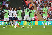 Nigeria Alex Iwobi (18) celebrating after scoring goal to make it 2-1 during the Friendly International match between England and Nigeria at Wembley Stadium, London, England on 2 June 2018. Picture by Matthew Redman.