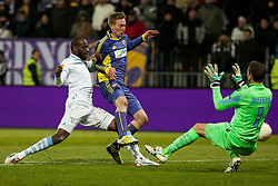 Luis Cavanda #39 of S.S. Lazio and Robert Beric #32 of Maribor and Albano Bizzarri #1 of S.S. Lazio during football match between NK Maribor and S. S. Lazio Roma  (ITA) in 6th Round of Group Stage of UEFA Europa league 2013, on December 6, 2012 in Stadium Ljudski vrt, Maribor, Slovenia. (Photo By Gregor Krajncic / Sportida)