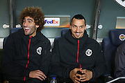 Marouane Fellaini Midfielder of Manchester United and Zlatan Ibrahimovic Forward of Manchester United share a joke during the Europa League match between Fenerbahce and Manchester United at the Ulker Stadium, Kadikoy, Turkey on 3 November 2016. Photo by Phil Duncan.