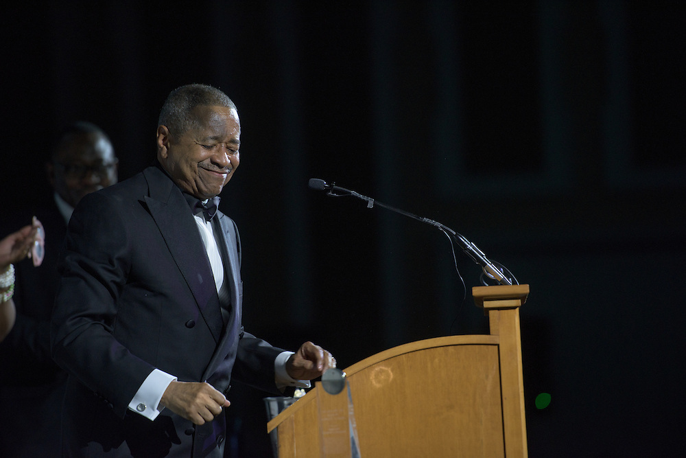 Ohio University President, Dr. Roderick McDavis, receives the 2016 Black Alumni Reunion Diversity and Inclusion Medal of Excellence during the gala dinner held at the Baker Center Ballroom on Friday, September 16, 2016.