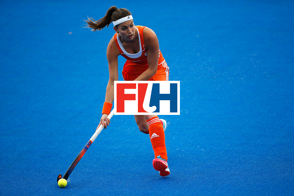 LONDON, ENGLAND - JUNE 18:  Eva de Goede of the Netherlands during the FIH Women's Hockey Champions Trophy 2016 match between Netherlands and New Zealand at Queen Elizabeth Olympic Park on June 18, 2016 in London, England.  (Photo by Joel Ford/Getty Images)