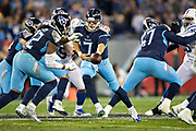 NASHVILLE, TN - DECEMBER 30:  Blaine Gabbert #7 hands off the ball to Derrick Henry #22 of the Tennessee Titans during a game against the Indianapolis Colts at Nissan Stadium on December 30, 2018 in Nashville, Tennessee.  The Colts defeated the Titans 33-17.   (Photo by Wesley Hitt/Getty Images) *** Local Caption *** Blaine Gabbert; Derrick Henry