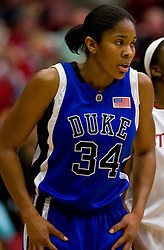 December 15, 2009; Stanford, CA, USA;  Duke Blue Devils center Krystal Thomas (34) during the second half against the Stanford Cardinal at Maples Pavilion.  Stanford defeated Duke 71-55.