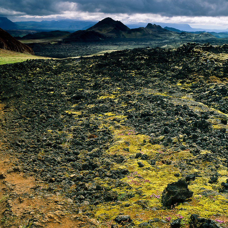 In Krafla, the trail leads through areas of solidified lava, in an otherwordly hike