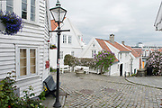 Houses and narrow streets in the old part of Stavanger, Norway, locally known as 'Gamle Stavanger'. The 173 buildings date back to 1700- and 1800-century and compose the best preserved wooden buildings in northern Europe.