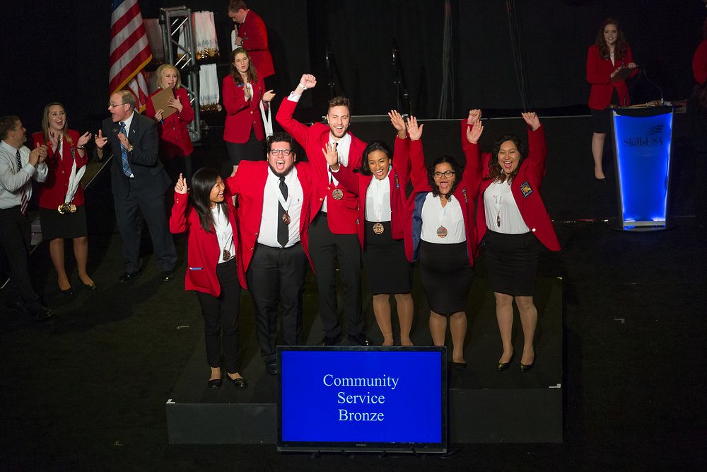 The 2017 SkillsUSA National Leadership and Skills Conference Competition Medalists were announced Friday, June 23, 2017 at Freedom Hall in Louisville. <br /> <br /> Community Service<br /> <br /> 	Team AA (consisting of David Barrios, Jose Najera Chacon, Erick Martinez)<br />   High School	 Lynn Vocational Technical High<br />   Gold	 Lynn, MA<br /> Community Service	Team H (consisting of Jaqueline Chavarria, Koy Duncan, Crystal Froese)<br />   High School	 Seminole High School<br />   Silver	 Seminole, TX<br /> Community Service	Team E (consisting of Demitri T Bannoura, Janeen V Soria, Kevin B Camelo Bonilla)<br />   High School	 Southwest Career &amp; Technical Academy<br />   Bronze	 Las Vegas, NV<br /> Community Service	Team A (consisting of Kevin Williams, Paula Carvell, Johnathan Kooser)<br />   College	 Washburn Tech<br />   Gold	 Topeka, KS<br /> Community Service	Team E (consisting of Selena Kongmany, Rocky Thao, Nouda Xiong)<br />   College	 Catawba Valley Community College<br />   Silver	 Hickory, NC<br /> Community Service	Team C (consisting of Alexandra Lugo, Jacqueline Cruz, Yajaira Gonzalez)<br />   College	 Texas State Tech College-Harlingen<br />   Bronze	 Harlingen, TX