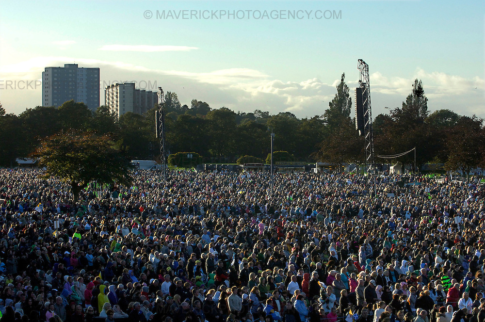 GLASGOW, UK - 16th September 2010: Pope Benedict XVI holds an open air mass at Bellahouston Park in Glasgow on the first day of his four day state visit to the UK...Picture shows an estimated 70,000 people turned out at Bellahouston Park to welcome Pope Benedict XVI. ..(Photograph: Richard Scott/MAVERICK)