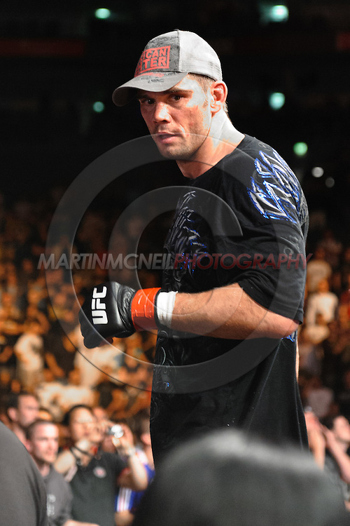 "COLOGNE, GERMANY, JUNE 13, 2009: Wanderlei Silva and Rich Franklin during ""UFC 99: The Comeback"" inside LanXess Arena, Cologne"