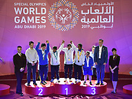 Abu Dhabi, United Arab Emirates - 2019 March 15: Awarding Ceremony in roller skating during Special Olympics World Games Abu Dhabi 2019 on March 15, 2019 in Abu Dhabi, United Arab Emirates. (Mandatory Credit: Photo by (c) Adam Nurkiewicz)