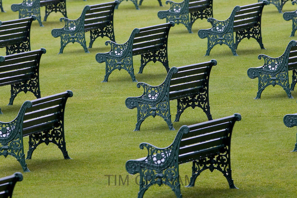 Benches at Ascot Racecourse, Berkshire, England, United Kingdom