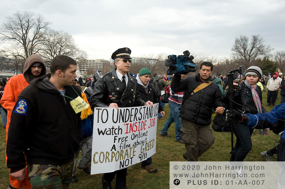 Retired Philadelphia police Captain Ray Lewis joins protesters for Occupy DC on the grounds of the US Capitol, Tuesday January 17,2012.