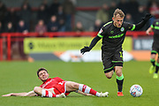 Forest Green Rovers George Williams(11) skips a challenge from Joe Maguire of Crawley Town during the EFL Sky Bet League 2 match between Crawley Town and Forest Green Rovers at The People's Pension Stadium, Crawley, England on 6 April 2019.
