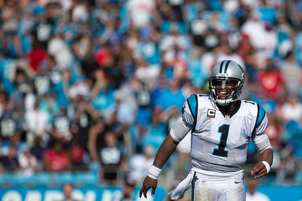 Carolina Panthers quarterback Cam Newton (1) celebrates throwing a touchdown pass.  <br /> San Francisco 49ers vs Carolina Panthers at Bank of America Stadium in Charlotte, N.C., on Sunday, Sept. 18, 2016. <br /> Zach Bland/For Auburn Athletics