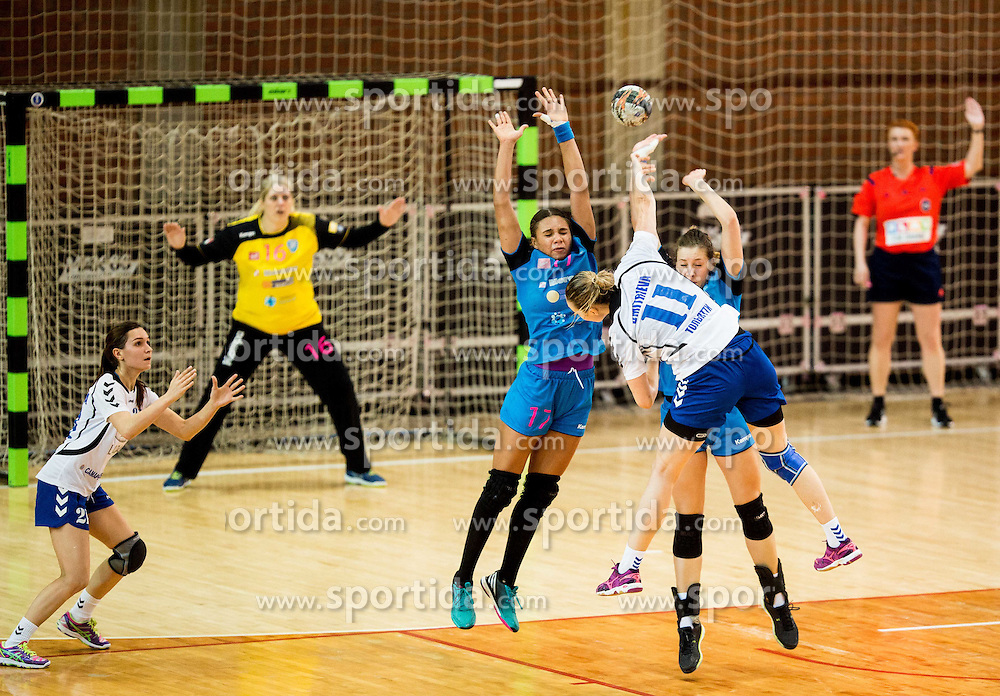 Elizabeth Omoregie and Marija Obradovic of Krim vs Daria Dmitrieva of Lada during 2nd Leg handball match between RK Krim Mercator and HC Lada Togliatti (ROU) in Semifinal of Women Cup Winners' Cup 2015/16, on April 9, 2016 in Arena Kodeljevo, Ljubljana, Slovenia. Photo by Vid Ponikvar / Sportida