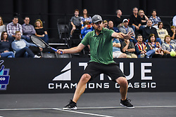 October 4, 2018 - St. Louis, Missouri, U.S - ANDY RODDICK starts his swing to return the serve during the Invest Series True Champions Classic on Thursday, October 4, 2018, held at The Chaifetz Arena in St. Louis, MO (Photo credit Richard Ulreich / ZUMA Press) (Credit Image: © Richard Ulreich/ZUMA Wire)