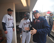 Former Rebels Don Kessinger  and Chris Coghlan (8) talk at Ole Miss baseball alumni game at Oxford-University Stadium in Oxford, Miss. on Saturday, February 5, 2011.
