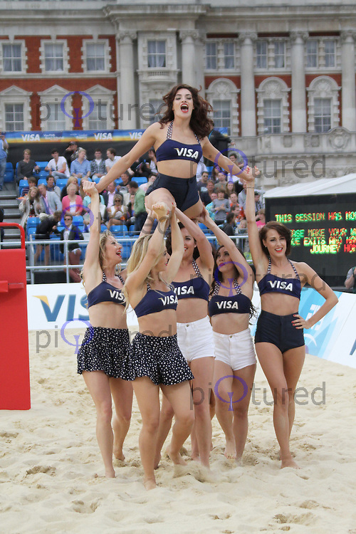 VISA Dancers Visa FIVB Beach Volleyball International - London 2012 test event - Horse Guards Parade, London, UK, 13 August 2011:  Contact: Rich@Piqtured.com +44(0)7941 079620 (Picture by Richard Goldschmidt)