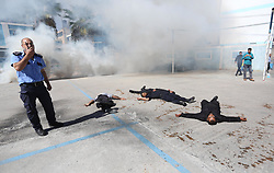 November 1, 2018 - Gaza, Gaza Strip - Palestinian policemen take part in a drill, organized by Ministry of Interior and National Security, in Gaza. (Credit Image: © Ashraf Amra/APA Images via ZUMA Wire)