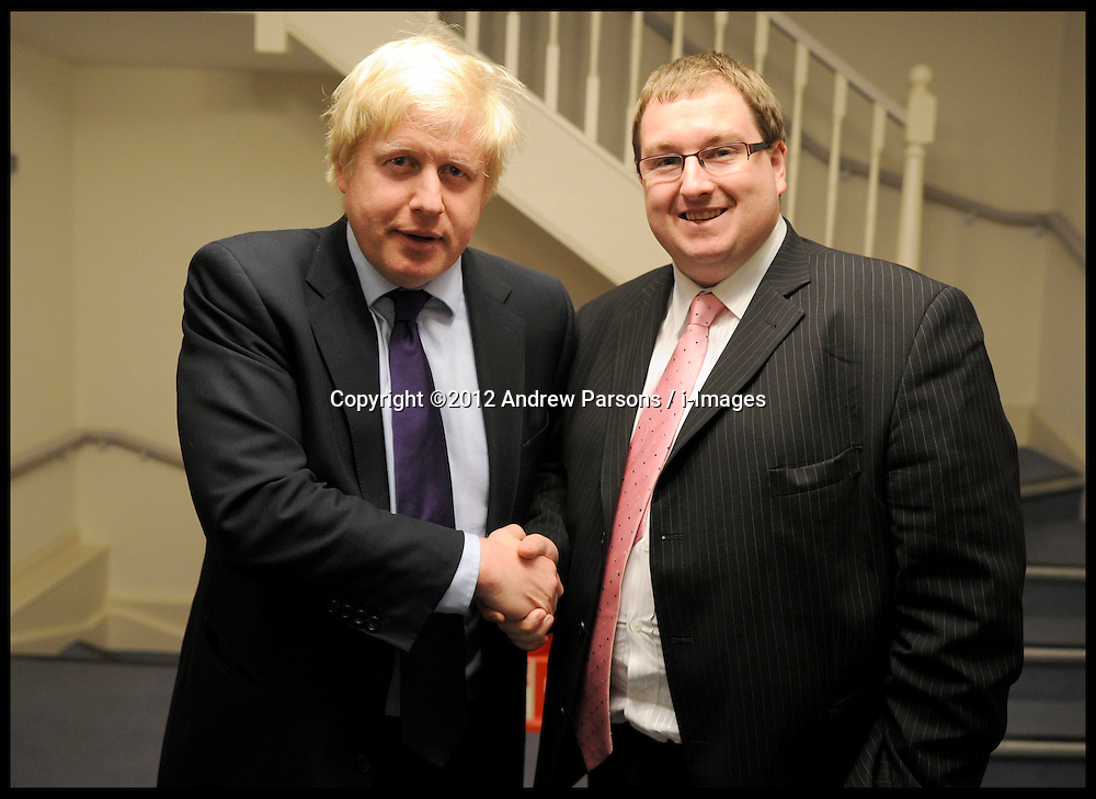 Image ©Licensed to i-Images Picture Agency. 11/04/2012. London, United Kingdom. Boris Johnson with Jonathan Isaby from Tax Payers Alliance. . Picture by Andrew Parsons / i-Images
