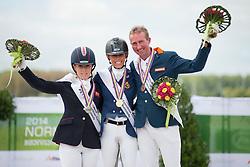 Para Dressage Grade IV Podium.  GOLD - Michele George BEL; SILVER - Sophie Wells GBR; BRONZE - Frank Horst NED.  2014 World Equestrian Games, Caen, Normandy, France