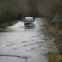 8.1.2005....Road closed...exept for 4x4 drivers as the  B846 Aberfeldy to Weem road looks more like a river.<br /><br />Picture by John Lindsay .<br />COPYRIGHT: Perthshire Picture Agency.<br />Tel. 01738 623350 / 07775 852112.