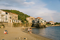 ACCIAROLI, ITALY - 14 SEPTEMBER 2018: A view of the beach and coastline in Acciaroli, a small fishing village in the municipality of Pollica, Italy, on September 14th 2018.<br /> <br /> To understand how people can live longer throughout the world, researchers at University of California, San Diego School of Medicine have teamed up with colleagues at University of Rome La Sapienza to study a group of 300 citizens, all over 100 years old, living in Acciaroli (Pollica), a remote Italian village nestled between the ocean and mountains in Cilento, southern Italy.<br /> <br /> About 1-in-60 of the area's inhabitants are older than 90, according to the researchers. Such a concentration rivals that of other so-called blue zones, like Sardinia and Okinawa, which have unusually large percentages of very old people. In the 2010 census, about 1-in-163 Americans were 90 or older.