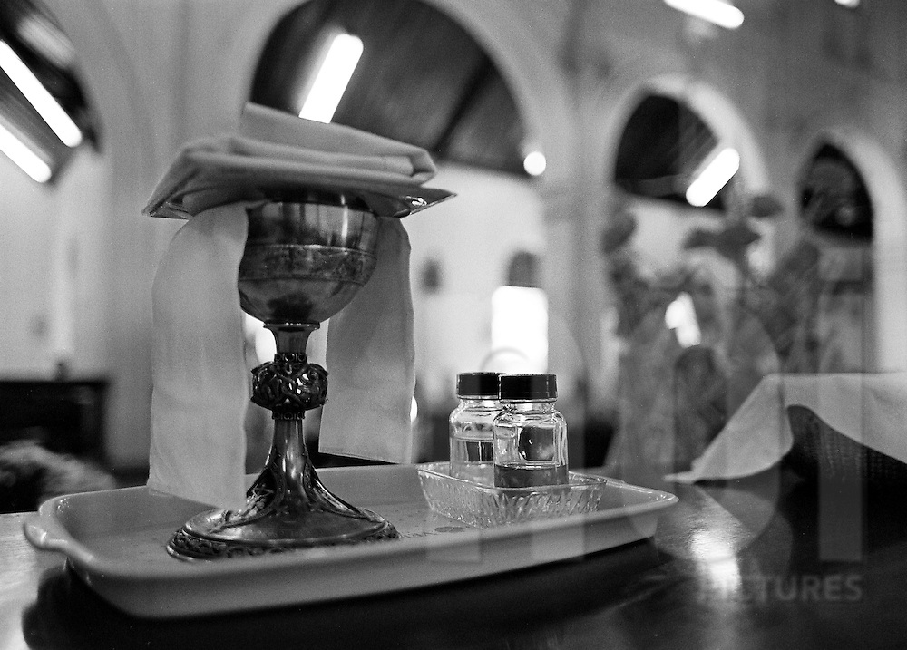 Close up of a ciborium during a mass. Laos, Asia