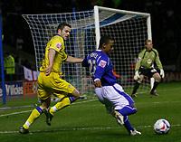 Photo: Steve Bond.<br />Leicester City v Leeds United. Coca Cola Championship. 13/03/2007. Levi Porter crosses for Leicester's equaliser