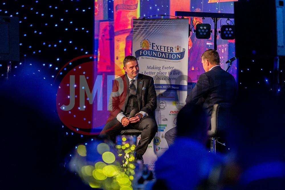 Mark Stevens interviews Rob Baxter - Ryan Hiscott/JMP - 06/08/2018 - RUGBY - Sandy Park - Exeter, England - Exeter Chiefs Season Launch Dinner