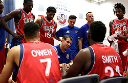 Bristol Flyers Head Coach Andreas Kapoulas gives a team talk - Mandatory by-line: Robbie Stephenson/JMP - 08/09/2016 - BASKETBALL - SGS Arena - Bristol, England - Bristol Flyers v USA Select - Preseason Friendly