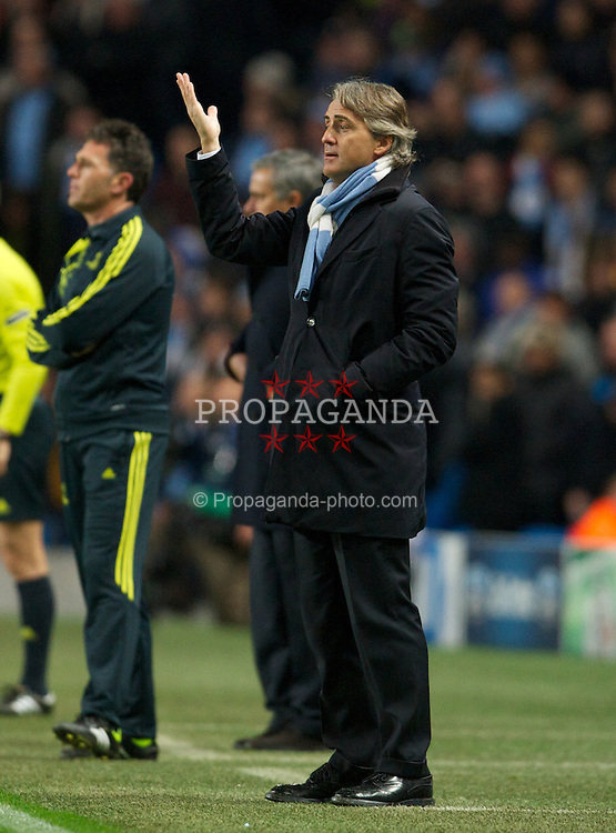 MANCHESTER, ENGLAND - Wednesday, November 21, 2012: Manchester City's manager Roberto Mancini during the UEFA Champions League Group D match against Real Madird CF at the City of Manchester Stadium. (Pic by David Rawcliffe/Propaganda)